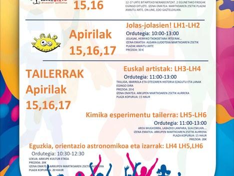 Actividades dirigidas a la población infantil y adolescente de Aretxabaleta para Semana Santa