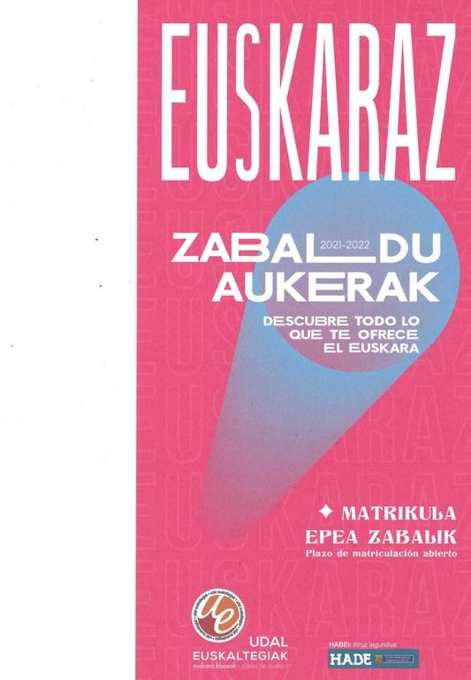 Abierto el plazo de inscripción para el curso 2021-22 en el Euskaltegi municipal