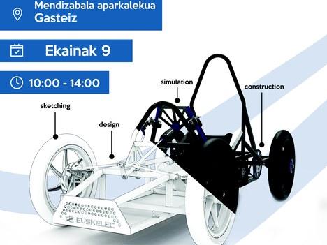 Exhibición en la plaza del vehículo eléctrico creado por Aretxabaleta Lanbide Eskola