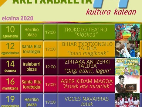 La actividad cultural regresa a Aretxabaleta con el programa '7x7 Kultura kalean'