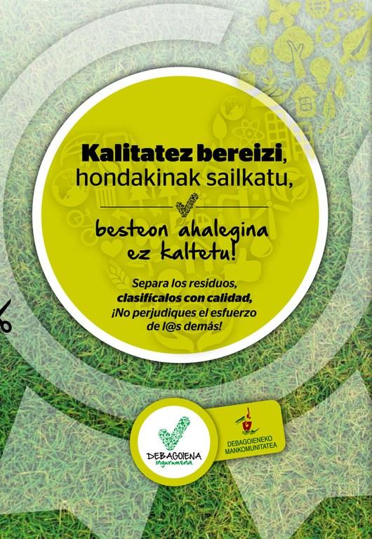 """La Mancomunidad de Debagoiena ha puesto en marcha la campaña """"Separa los residuos, Clasifícalos con calidad"""" para mejorar la separación de los residuos"""