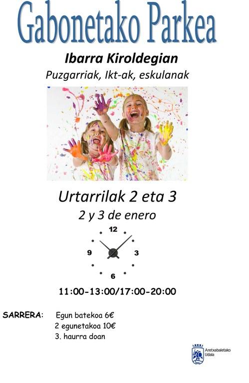 Parque infantil de Navidad en Ibarra kiroldegia