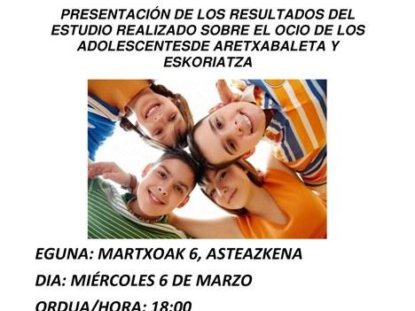 Presentación de los resultados sobre el estudio del ocio y la adolescencia en Aretxabaleta y Eskoriatza
