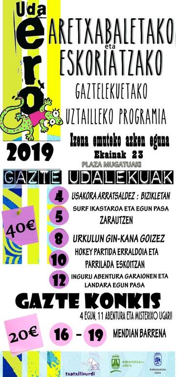UDAERO 2019. Actividades de verano para adolescentes de entre 12/13-17 años