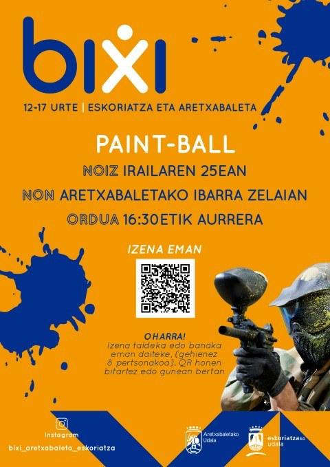 Paintball-az gozatzeko aukera izango dute larunbatean nerabeek